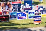 Signs greeting early voters outside the Lakeside Activity Center in Mesquite.