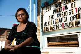 "Emily ""SpicyBrown"" Sanchez is on the ballot as the U.S. Senate Green Party nominee. Sanchez, a full-time physical therapist assistant, is also a slam poet who travels throughout the state for performances. Photographed at the Spider House Ballroom in Austin on Oct. 26."
