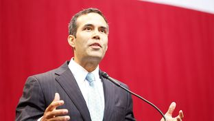 Newly-elected Land Commissioner George P. Bush speaking at the GOP Election night party at the Moody Theater in Austin, Texas on Nov. 4, 2014.