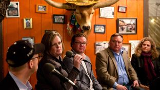 Reporter Jay Root, Gov. Rick Perry's former chief of staff and top transportation appointee Deirdre Delisi, former Perry presidential campaign manager Rob Johnson, Democratic consultant Harold Cook and state Rep. Donna Howard, D-Austin at El Arroyo in Austin discussing Rick Perry's legacy on Nov. 18, 2014.