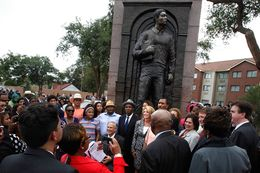 Attorney General Greg Abbott and state Sen. Wendy Davis were among those attending the unveiling of a statue of Timothy Cole at a Lubbock park on Sept. 17, 2014. Cole was wrongfully convicted of rape in 1985 and died in prison in 1999. He was posthumously exonerated in 2009.