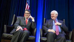 Outgoing Gov. Rick Perry with former House Speaker Newt Gingrich at the Texas Public Policy Foundation's Policy Orientation conference on Jan. 9, 2015.