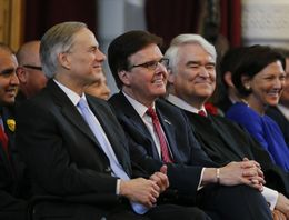 Gov.-elect Greg Abbott (left), Lt. Gov.-elect Dan Patrick and Supreme Court Chief Justice Nathan Hecht are shown in the House chamber on Jan. 13, 2015, the first day of the 84th Legislative Session.