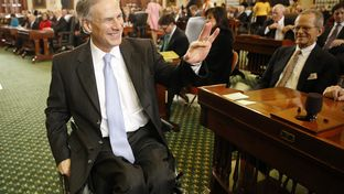 Greg Abbott visiting the Senate chamber on Jan. 13, 2015.