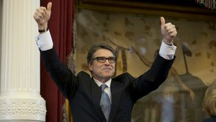 Gov. Rick Perry on the House dais in his final speech to the Texas Legislature on Jan. 15, 2015.