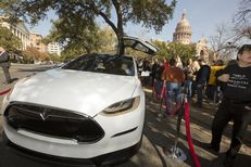 Tesla vehicle on display outside the Texas Capitol on January 15th, 2015