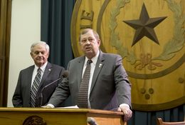 State Rep. John Otto (right) proposes a constitutional amendment to use Rainy Day Fund money to pay off state debt during a news conference on Jan. 15, 2015. At left is state Rep. Jimmie Don Aycock, R-Killeen.