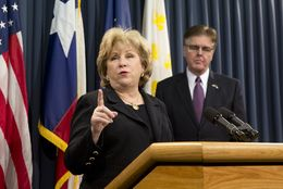 State Senate Finance Chairwoman Jane Nelson R-Flower Mound, and Lt. Gov. Dan Patrick discussed the Senate's base budget plan at a Jan. 27, 2015, news conference.