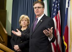 State Sen. Jane Nelson, R-Flower Mound, and Lt. Gov. Dan Patrick at a budget press conference on Jan. 27, 2015.