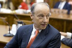 UT Regent nominee David Beck scans the audience at the Senate Nominations Committee hearing Feb. 26, 2015.