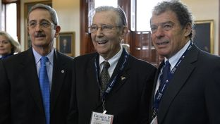 Three former Texas land commissioners — (l-r) Jerry Patterson, Bob Armstrong and Garry Mauro — at the swearing-in ceremony of Land Commissioner George P. Bush on Jan. 2, 2015. Armstrong, 82, died March 1, 2015.