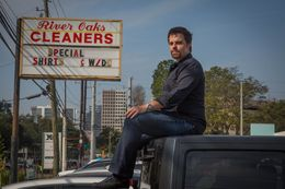 Trey Melcher in front of his family's shopping center, where River Oaks Cleaners is a tenant. The Melchers feel they've been unfairly targeted by Harris County in an environmental lawsuit that seeks up to $173 million.