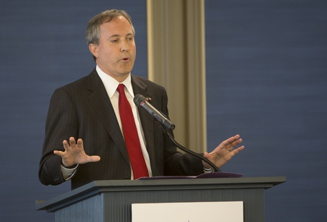 Texas Attorney General Ken Paxton speaking at the Texas Public Policy Foundation's opening of its new building on April 21, 2015.