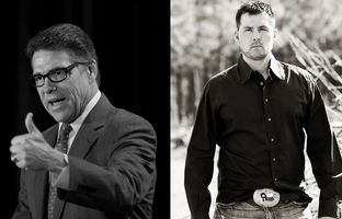 Former Texas Governor Rick Perry and Marcus Luttrell, a former Navy SEAL who escaped a 2005 Taliban ambush in Afghanistan.