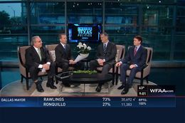 (L-R) The Fort Worth Star-Telegram's Bud Kennedy, WFAA's Jason Whitely, Dallas Mayor Mike Rawlings and Arlington Mayor-Elect Jeff Williams on Inside Texas Politics on May 10, 2015.