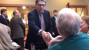 Former Gov. Rick Perry meets with Iowans on May 18, 2015, in Sioux Center. Perry, who's expected to announce his 2016 presidential campaign in June, spent the day traveling across the northwest part of the state.