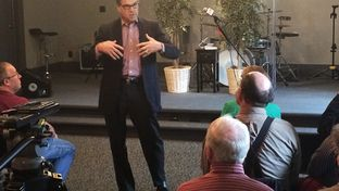 Former Gov. Rick Perry addresses Iowans on Monday in Le Mars. The stop came during a five-day swing through the critical early-voting state as Perry ramps up for a 2016 presidential bid.
