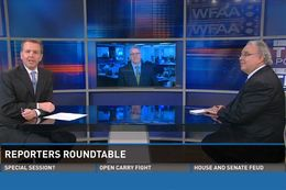 WFAA-TV's Inside Texas Politics with (l-r) host Jason Whitely, Tribune Executive Editor Ross Ramsey and the Fort Worth Star-Telegram's Bud Kennedy.