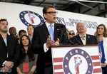 Former Gov. Rick Perry announces his 2016 candidacy for president June 4, 2015, in Addison, Texas.