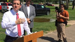 U.S. Sen. Ted Cruz, R-Texas, holds a news conference Tuesday in Edinburg after a briefing with law enforcement officials. The 2016 presidential candidate was visiting the Rio Grande Valley for a fundraiser.