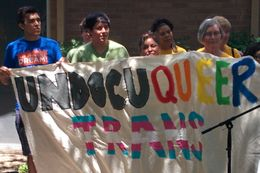 Supporters of LGBT asylum-seekers rally at a church in Austin.