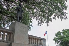 The statue of Jefferson Davis, once president of the Confederate States, stands just south of the Main Building on UT's campus on June 22, 2015.