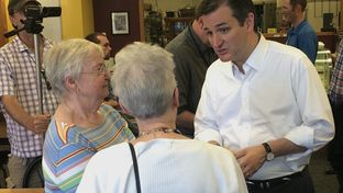 U.S. Sen. Ted Cruz, R-Texas, talks to Iowans at a bakery in Orange City. The 2016 presidential candidate visited the early-vote state Friday.