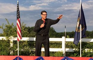 Former Texas governor and presidential contender gives his stump speech in Windham, New Hampshire on July 4. 2015.