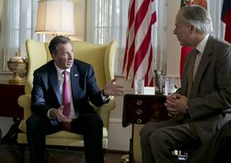 Secretary of Foreign Affairs of Mexico José Antonio Meade Kuribreña and Gov. Greg Abbott at the Governor's Mansion on July 9, 2015