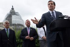 Joined by Dave McIntosh (left), the president of the Washington, D.C-based Club for Growth, and U.S. Rep. Bill Flores, R-Bryan, U.S. Sen. Ted Cruz spoke at a July 15, 2015, news conference in front the U.S. Capitol to call on U.S. House and Senate leaders to eliminate any path for the reauthorization of the Export-Import Bank.