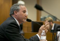 Texas Attorney General Ken Paxton testifies on July 29, 2015, before the Senate Health and Human Services Committee on an investigation into Planned Parenthood's practices.