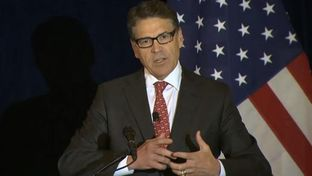 "Former Gov. Rick Perry on Wednesday delivered a speech on Wall Street reform in New York. The Republican presidential candidate vowed that if elected, the United States ""will not bail out a single bank on Wall Street."""