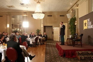 Evan Smith speaks to the crowd during TribLive, a monthly conversation with Texas public officials.