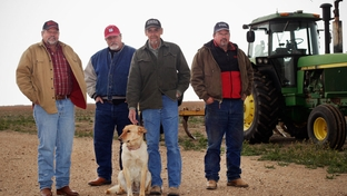 Left to right: Leland Stukey Kelly Young, J.O. Dawdy and Kirby Lewis photographed in Floydada, TX, on Mar. 8, 2012.