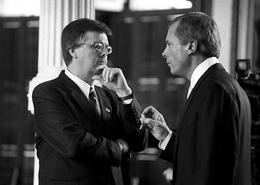State Sen. Dan Patrick, R-Houston, speaking with Lt. Gov. David Dewhurst on the floor of the Texas Senate.