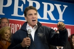 Gov. Rick Perry during the final pitch of his Iowa bus tour at a campaign rally at Hotel Pattee in Perry, Iowa, on Jan. 2, 2012.