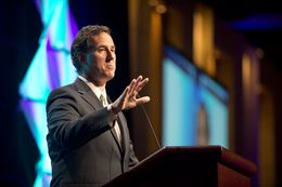 Rick Santorum tells stories from his failed presidential campaign June 8, 2012 at the Texas Republican Convention.