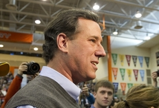 Rick Santorum at Valley High School in Clive, Iowa on Iowa caucus day January 3, 2012.