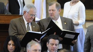 State Rep. Jimmie Don Aycock (l), R-Killeen, and State Rep. John Otto (r), R-Dayton, wait to speak on HB4 supplemental house appropriations bill on March 31, 2011.