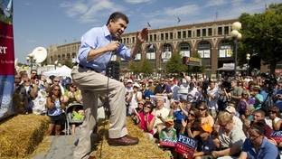 Presidential hopeful Gov. Rick Perry, speaks to crowd in Waterloo, Iowa on August 14th, 2011