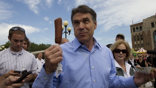 Presidential hopeful Gov. Rick Perry campaigns in Waterloo, Iowa on August 14th, 2011