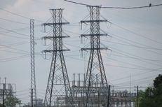Electricity transmission lines in Houston.