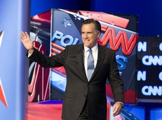 Republican candidate Mitt Romney waves to the crowd at the CNN Charleston debates on January 19, 2012.