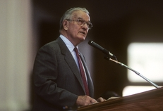 Former Texas Gov. Bill Clements is shown during a speech at the Texas Capitol in 1987. He served as governor from 1979 to 1983 and again from 1987 to 1991. He passed away in 2011.
