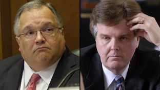 Sen. John Carona, R-Dallas (l) and Sen. Dan Patrick, R-Houston (r)