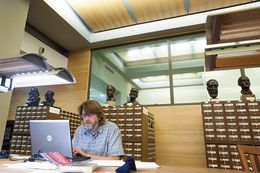 John Young, a professor at Marshall University in West Virginia, does research at the University of Texas at Austin's Harry Ransom Center. The Ransom Center's approximately $7 million budget, of which roughly $3.74 million comes from the university, dwarfs that of other collections throughout the state.