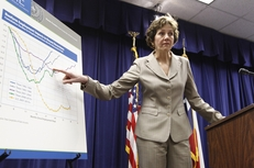 Comptroller Susan Combs explaining budget revenue numbers on Jan. 10, 2011.