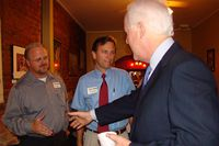 John Higgins, chief of staff to state Rep. Tim Kleinschmidt, can be seen on the far left of this photo with U.S. Sen. John Cornyn. The Travis County District Attorney's Public Integrity Unit is investigating Higgins in relation to alleged improprieties involving travel reimbursements.