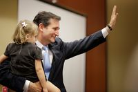 U.S. Senate candidate Ted Cruz with his daughter at the JW Marriott hotel in Houston on May 29, 2012.