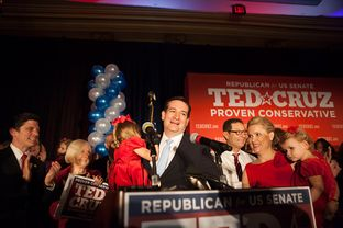 Ted Cruz with daughter Caroline at his election watch party in Houston on Nov. 6, 2012.